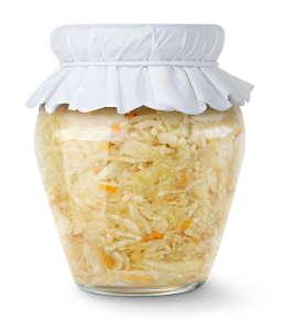 Marinated cabbage (sauerkraut) in glass jar