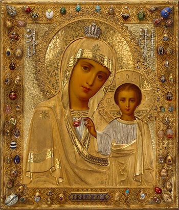 JRO-6501;0; Icon Our Lady of Kazan in a Silver Mount
