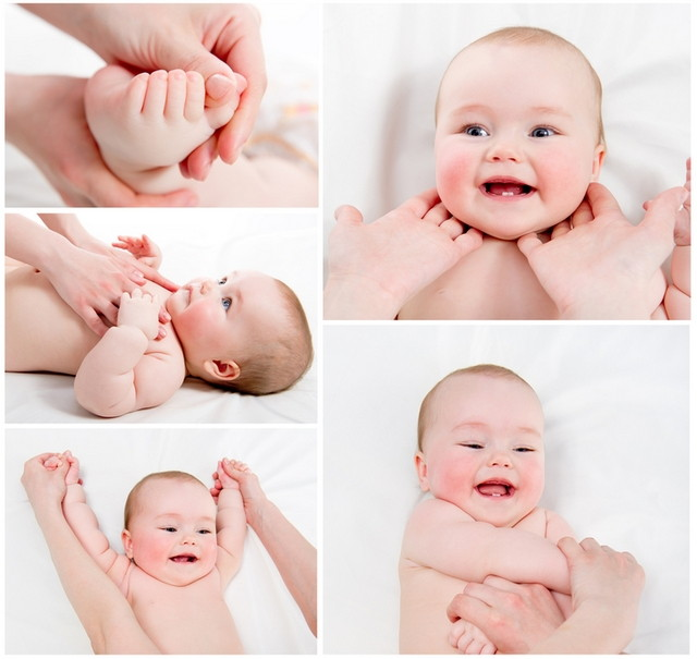 Adorable Baby massage collage