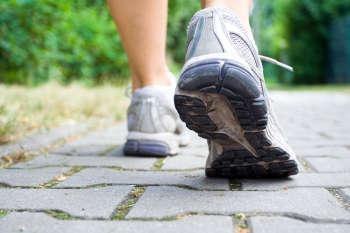 Sport shoes walking in summer