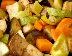 Stewed vegetables: potatos, carrots, aubergines, vegetable marro