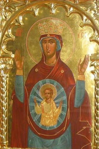 Икона Божией Матери «Знамение» Логойская, выполненная в византийском стиле