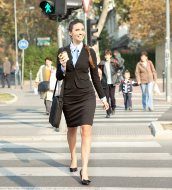 Woman going to work, city business