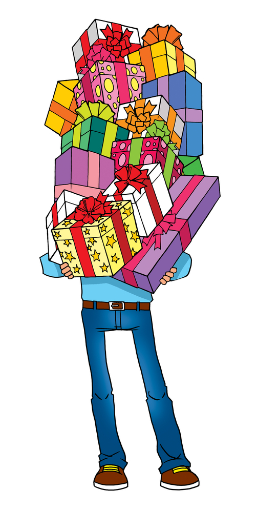 Cartoon man holding gifts