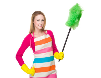 Housewife using cleaning brush