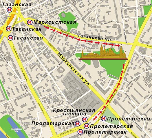 Схема прохода от метро к Покровскому женскому монастырю г. Москвы