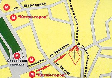схема прохода от метро к Иоанно-Предтеченскому ставропигиальному женскому монастырю г. Москвы