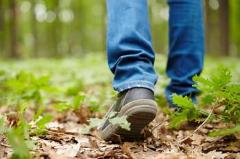 Man feet walking