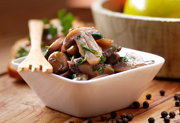 sauteed mushrooms photographed in closeup